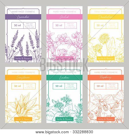 Hand Made Cosmetics Hand Drawn Vector Packaging Templates Set. Natural Beauty Product Branding, Iden