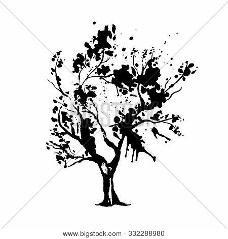 Tree In Japanese Style Vector Illustration. Nature Creative Oriental Ink Drawing. Botanical Design E