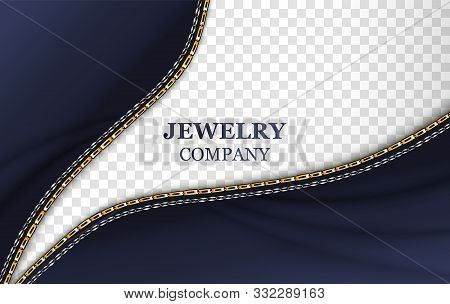 Jewelry Company Banner Realistic Template With Typography. Golden Shiny Chain On Vector Transparent