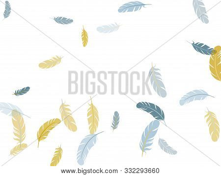 Sophisticated Silver Gold Feathers Vector Background. Plumage Bohemian Fashion Shower Decor. Detaile