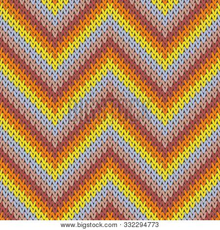 Cool Zigzag Chevron Stripes Christmas Knit Geometric Seamless Pattern. Ugly Sweater Knitwear Fabric