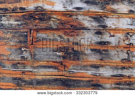 Old Orange Boat Planks For Backgrounds And Compositions
