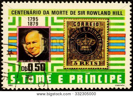 Moscow, Russia - November 06, 2019: Stamp Printed In Sao Tome And Principe Shows Portrait Of Sir Row