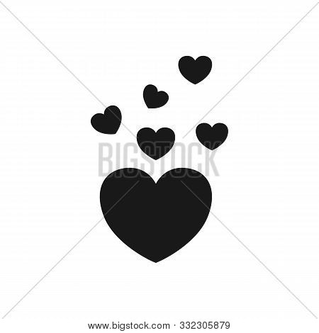 Black Heart Icon Template Vector Image Design