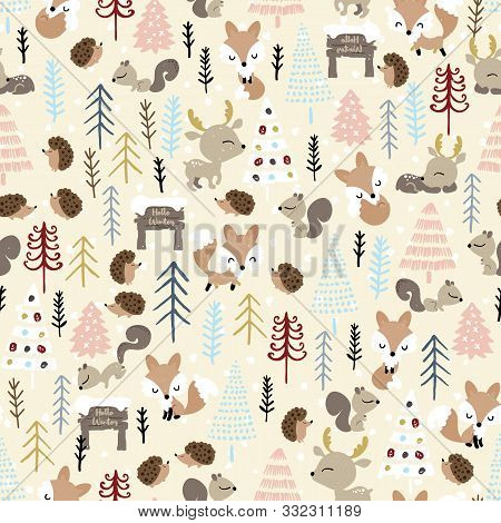 Christmas Seamless Pattern. Forest Deer, Fox, Hedgehog, Squirrel, And Spruce Trees. Season Greeting.