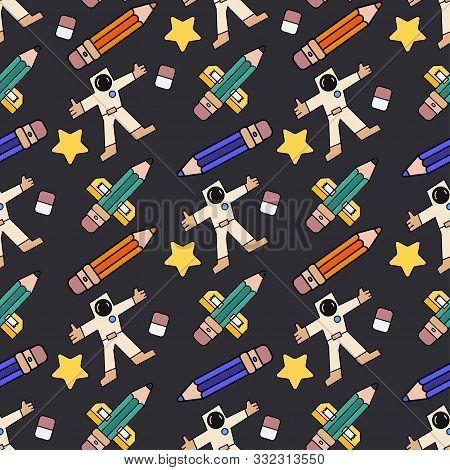Color Seamless Spacecraft Pattern. Kids Futuristic Galaxy Doodle. Imagination Space Rocket, Astronau