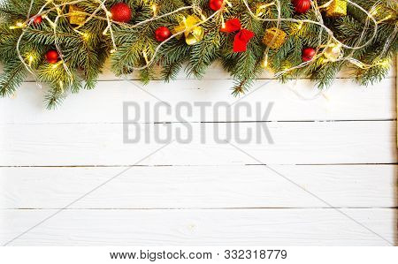 Christmas Decoration And Gift Boxes On Wooden Background. Christmas Or New Year Background. Xmas Dec