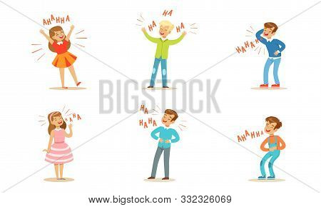 Boys And Girls Laugh Out Loud. Vector Illustration.