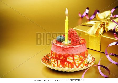 Colorful Birthday Cake With Candle