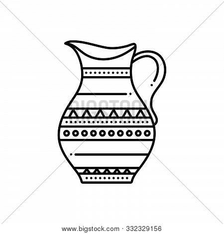 Black Line Icon For Antique Jar Comical Marvelous Longstanding Decrepit Pristine