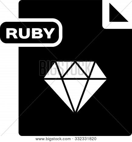 Black Ruby File Document. Download Ruby Button Icon Isolated On White Background. Ruby File Symbol.