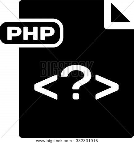 Black Php File Document. Download Php Button Icon Isolated On White Background. Php File Symbol. Vec
