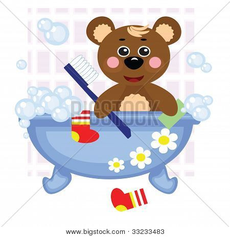 Teddy bear showering in bath, vector.