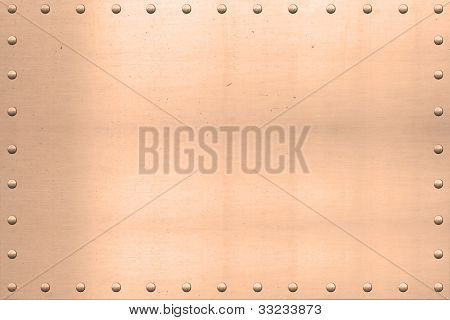 Vintage Copper Sheet, Riveted Edges