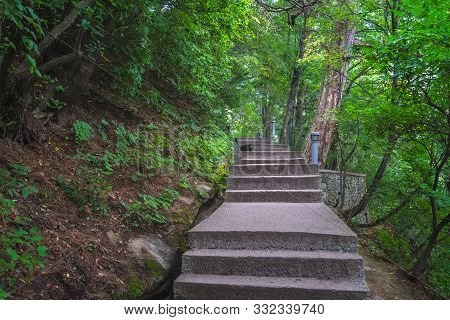 Stairs On Lower Section Of An Empty Mountain Trail In Huashan Mountain, Xian, Shaanxi Province, Chin