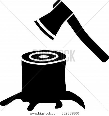 Black Wooden Axe In Stump Icon Isolated On White Background. Lumberjack Axe. Axe Stuck In Wood. Vect