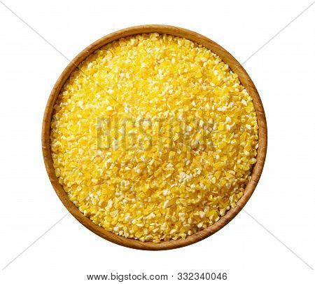 Corn Grits Groat In A Wooden Bowl Isolated On White Background