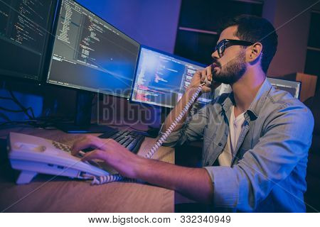 Profile Photo Of It Specialist Guy Work Late At Night Sitting Office Comfy Chair Looking Monitors Sp