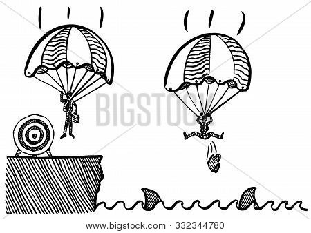 Freehand Drawing Of Business Man Landing Safely With Parachute At Target Onshore, While His Competit