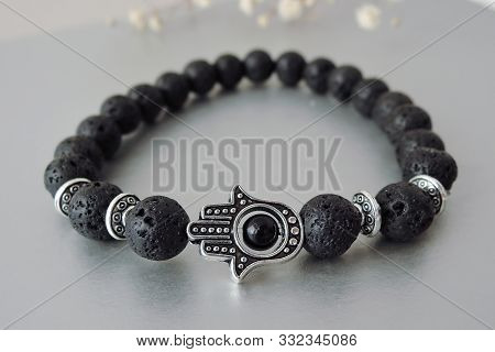 Fashionable Bracelets With Lava Stone And Pendants Hamsa