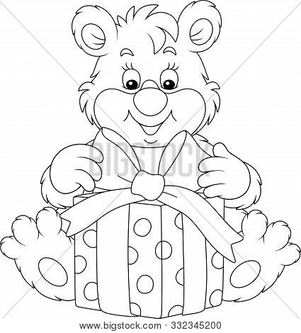 Joyful And Friendly Smiling Little Bear Cub And A Beautiful Box With A Holiday Gift, Black And White