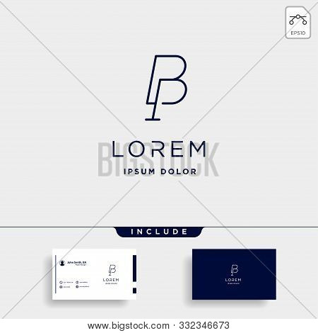 Letter B P Bp Pb Logo Design Simple Vector