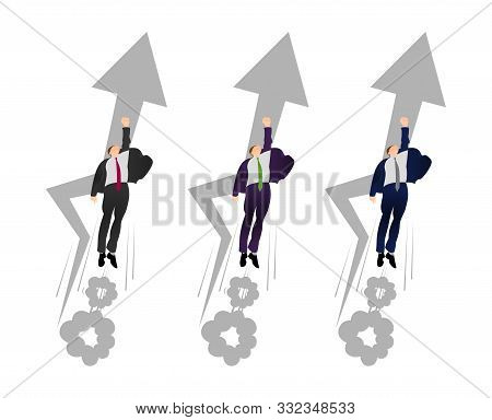 Vector Flat Businessman In A Superman Pose Blast Off. Man Flies To Profit. Hurry Up Concept. Flying