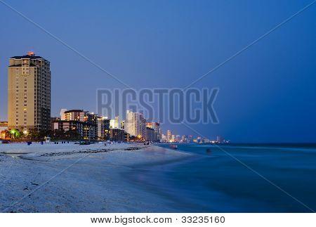 Panama City Beach Florida cityscape at night