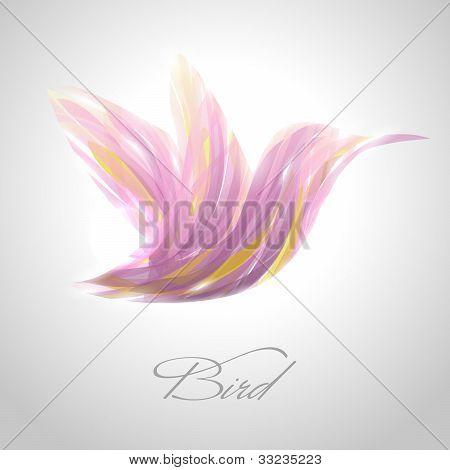 Shiny lavender striped flying hummingbird. Vector illustration. poster