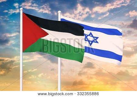 Relationship Between The Israel And The Palestine. Two Flags Of Countries On Heaven With Sunset. 3d