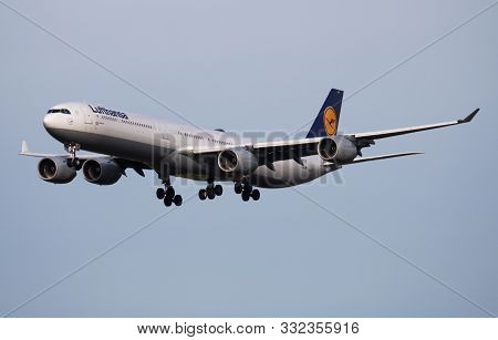 Munich / Germany - October 4, 2017: Lufthansa Airbus A340-600 D-aihk Passenger Plane Arrival And Lan