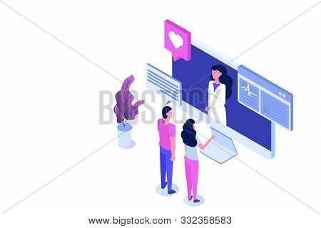 Online Doctor Consultation. Smart Technology In Healthcare Isometric Vector Illustration