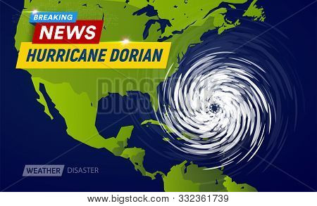 Dorian Hurricane Cyclone On Usa Map, Typhoon Spiral Storm Over Florida, Spin Vortex On Black Backgro