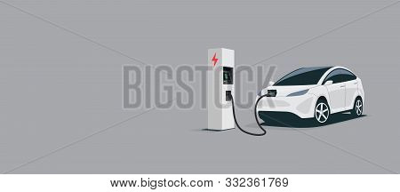 Vector Illustration Of A Smart Luxury White Electric Plug Car Charging At The Electro Charger Statio