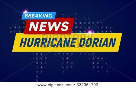 Dorian Hurricane Cyclone On Usa Map, Typhoon Spiral Storm Over Florida, Spin Vortex On Black Backgro
