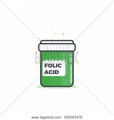 Folic Acid Bottle Icon, Vector, Eps 10 File, Easy To Edit