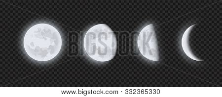 Moon Phases, Waning Or Waxing Crescent Moon On Transparent Checkered Background. Lunar Eclipse In St