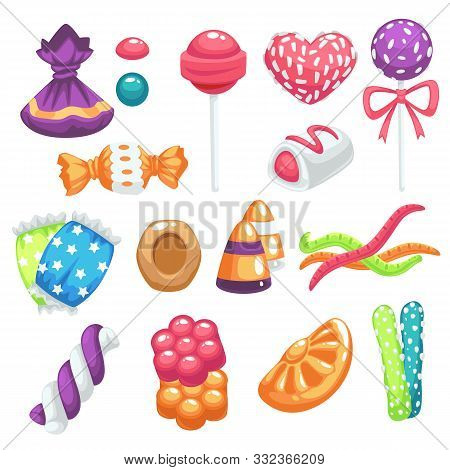Candies And Sweets, Bonbons And Jelly, Marshmallow And Lollipop Isolated Icons