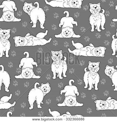 Seamless Pattern With Cute Cartoon Drawing Dogs Husky, Alaskan Malamute, Akita, Samoyed, Furry Funny