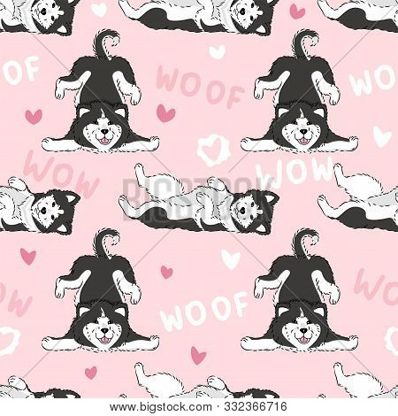 Seamless Pattern With Cute Cartoon Drawing Dogs Husky Or Alaskan Malamute, Funny Adorable Pets, On P