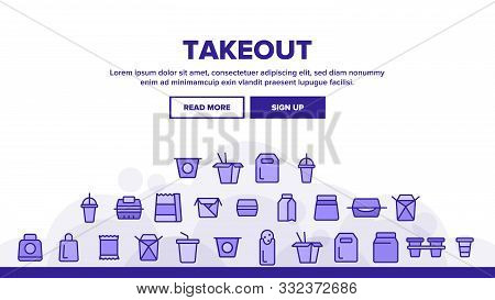 Takeout Food Vector Thin Line Icons Set. Takeout, Takeaway Meal And Beverages Linear Pictograms. Fas