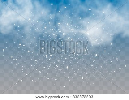 Falling Snow On A Transparent Background. Snow Clouds Or Shrouds. Fog, Snowfall. Abstract Snowflake