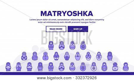 Matryoshka Toy Vector Thin Line Icons Set. Matryoshka, Traditional Russian Decorative Souvenir Linea