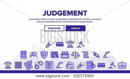 Judgement, Court Process Vector Thin Line Icons Set. Judgement, Trial Procedure Linear Pictograms. L