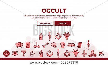 Occult, Demonic Entity Imagery Vector Linear Icons Set. Satanic Rituals, Demonic Beliefs, Superstiti