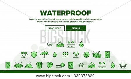 Waterproof, Water Resistant Materials Vector Linear Icons Set. Waterproof, Surface Protection Outlin