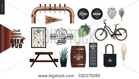 Brewery, Craft Beer Pub - Small Business Graphics - Pub Elements -modern Flat Vector Concept Illustr