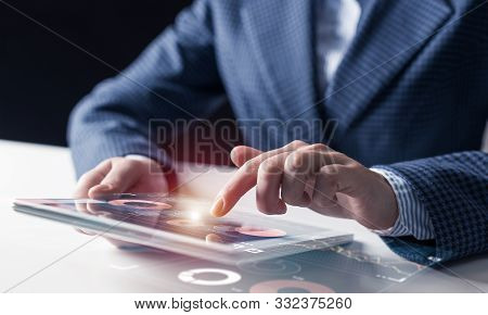 Digital Technologies In Modern Business Concept. Businessman Hands Using Tablet Computer. Virtual In
