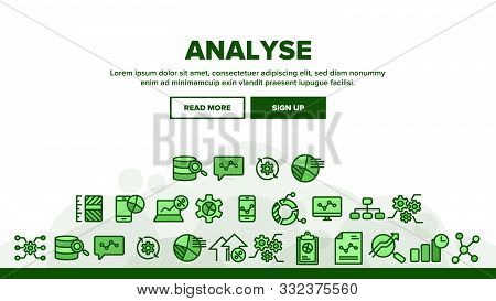 Collection Analyse Element Sign Icons Set Vector Thin Line. Market Graph Detail Of Analyse Linear Pi
