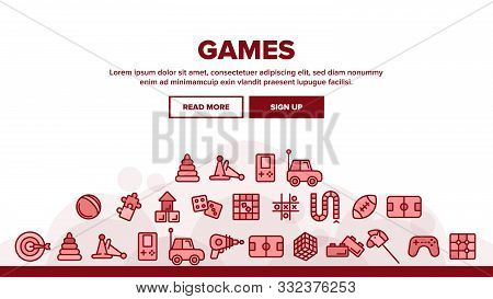Interactive Kids Games Vector Thin Line Icons Set. Video Games Controller And Rugby Football Ball, R
